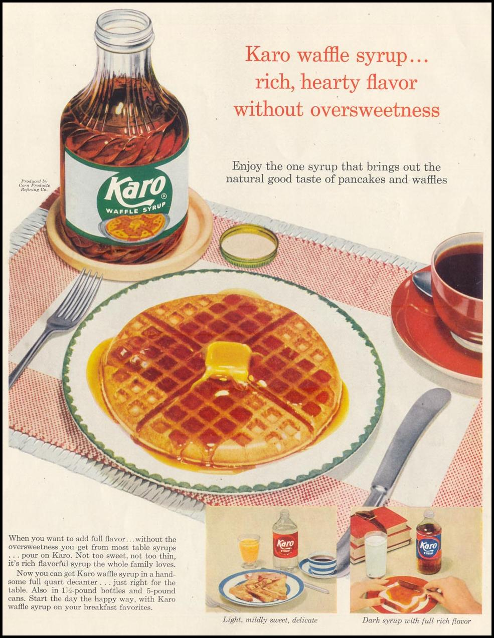 KARO WAFFLE SYRUP SATURDAY EVENING POST 02/05/1955 INSIDE FRONT