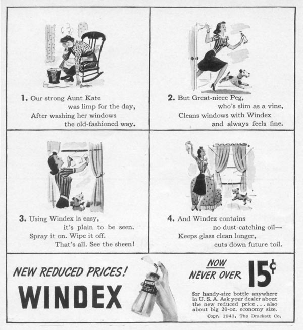 WINDEX WINDOW CLEANER WOMAN'S DAY 04/01/1941 p. 63