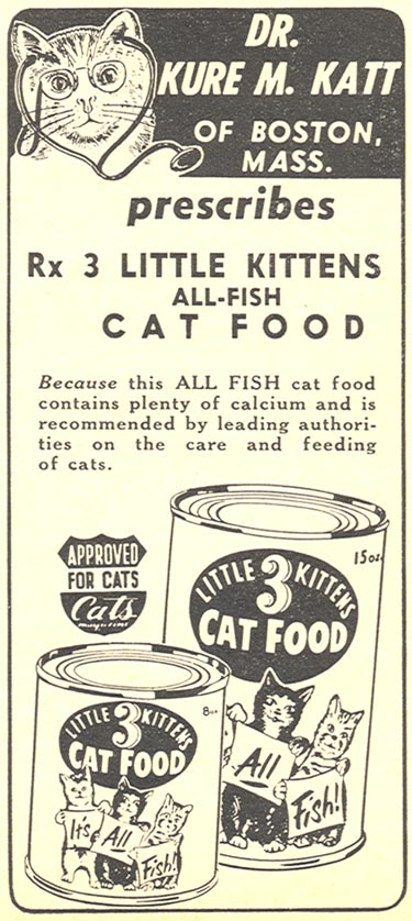 3 LITTLE KITTENS ALL-FISH CAT FOOD WOMAN'S DAY 04/01/1956 p. 125