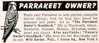 THE PARRAKEET OWNER'S HANDBOOK LIFE 10/19/1953 p. 20