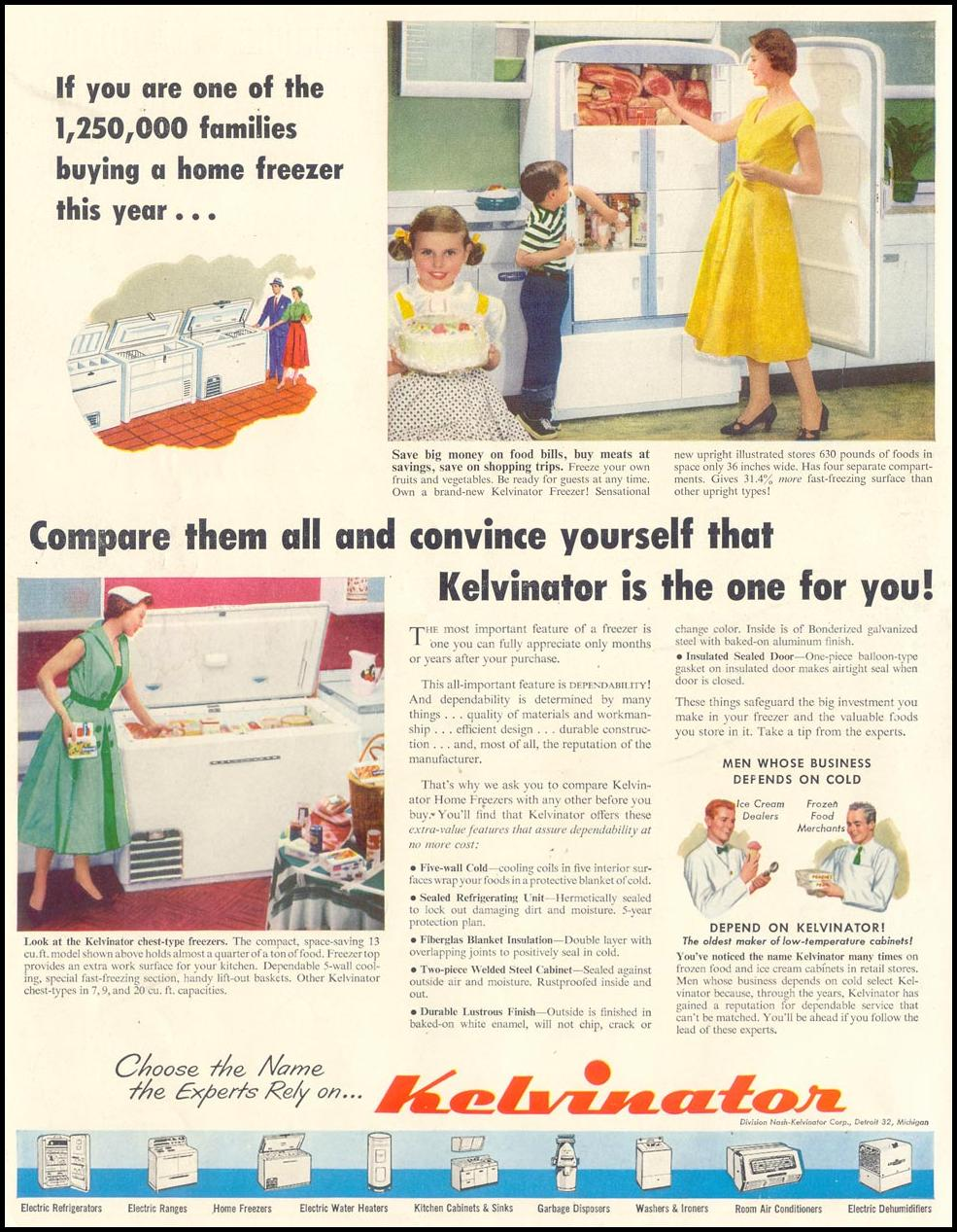 KELVINATOR REFRIGERATORS LIFE 07/06/1953 INSIDE FRONT