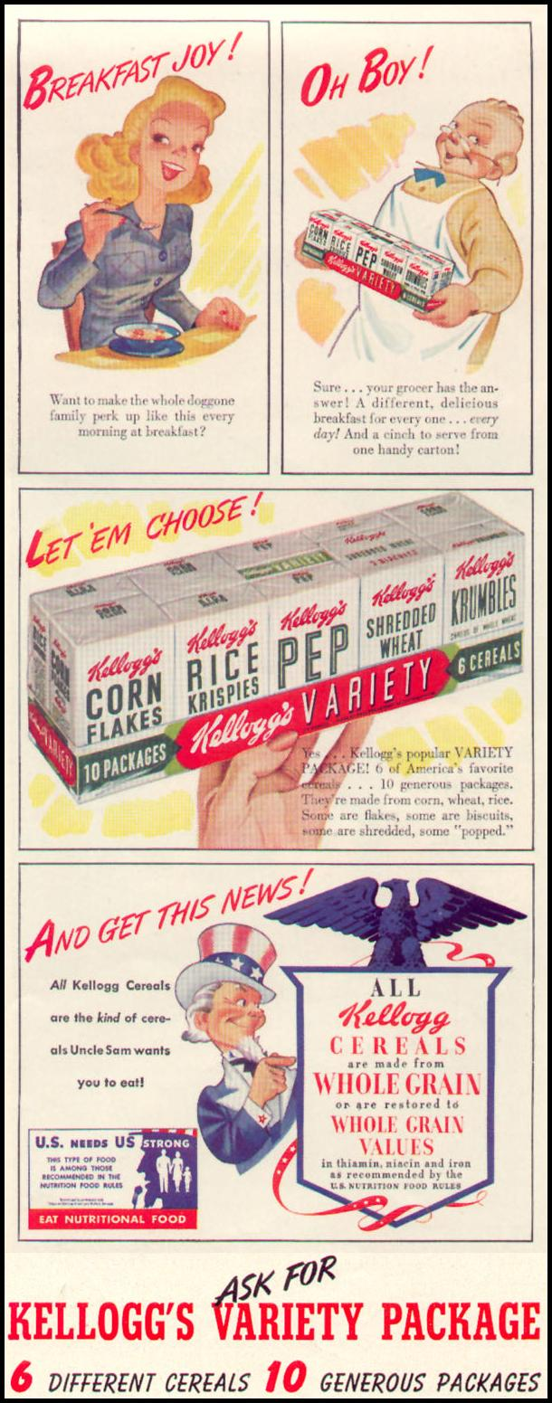 KELLOGG'S VARIETY PACKAGE LIFE 11/02/1942 p. 71