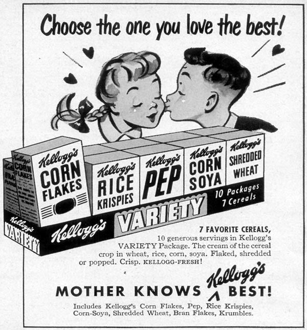 KELLOGG'S VARIETY PACK WOMAN'S DAY 07/01/1949 p. 93