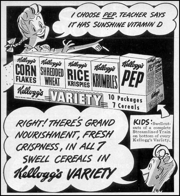 KELLOGG'S VARIETY PACK WOMAN'S DAY 09/01/1948 p. 104