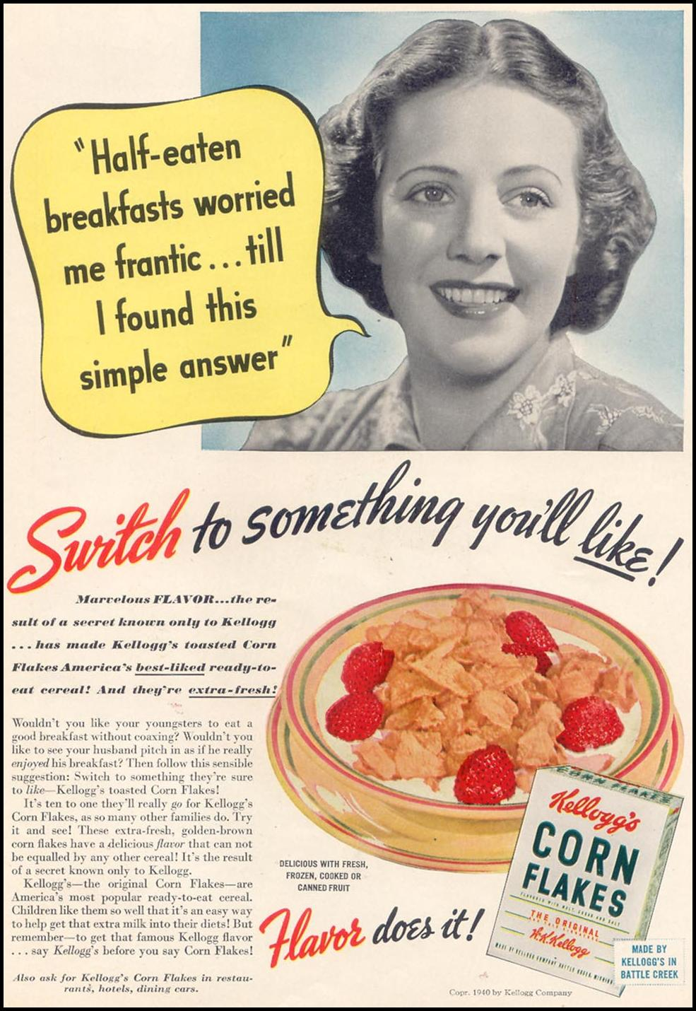 KELLOGG'S CORN FLAKES WOMAN'S DAY 07/01/1940