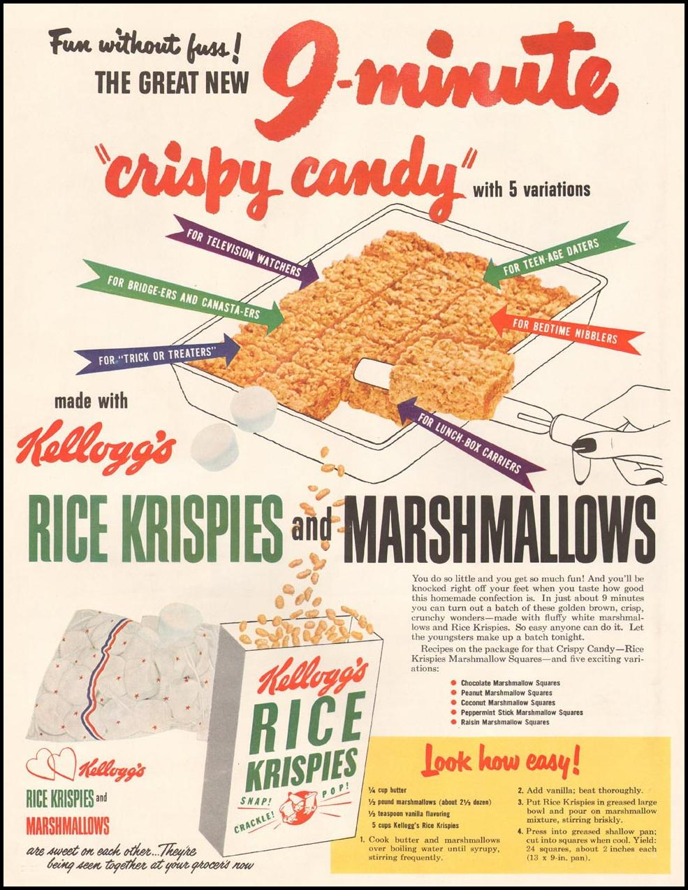 KELLOGG'S RICE KRISPIES LADIES' HOME JOURNAL 11/01/1950 p. 90