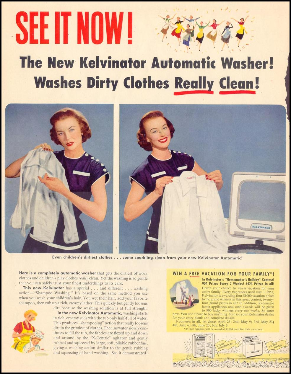 KELVINATOR AUTOMATIC CLOTHES WASHER LIFE 04/13/1953 p. 42