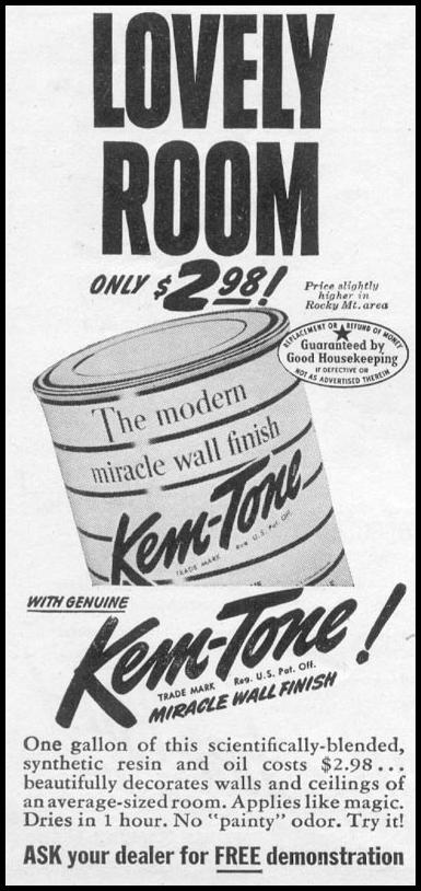KEM-TONE MIRACLE WALL FINISH WOMAN'S DAY 11/01/1945 p. 106