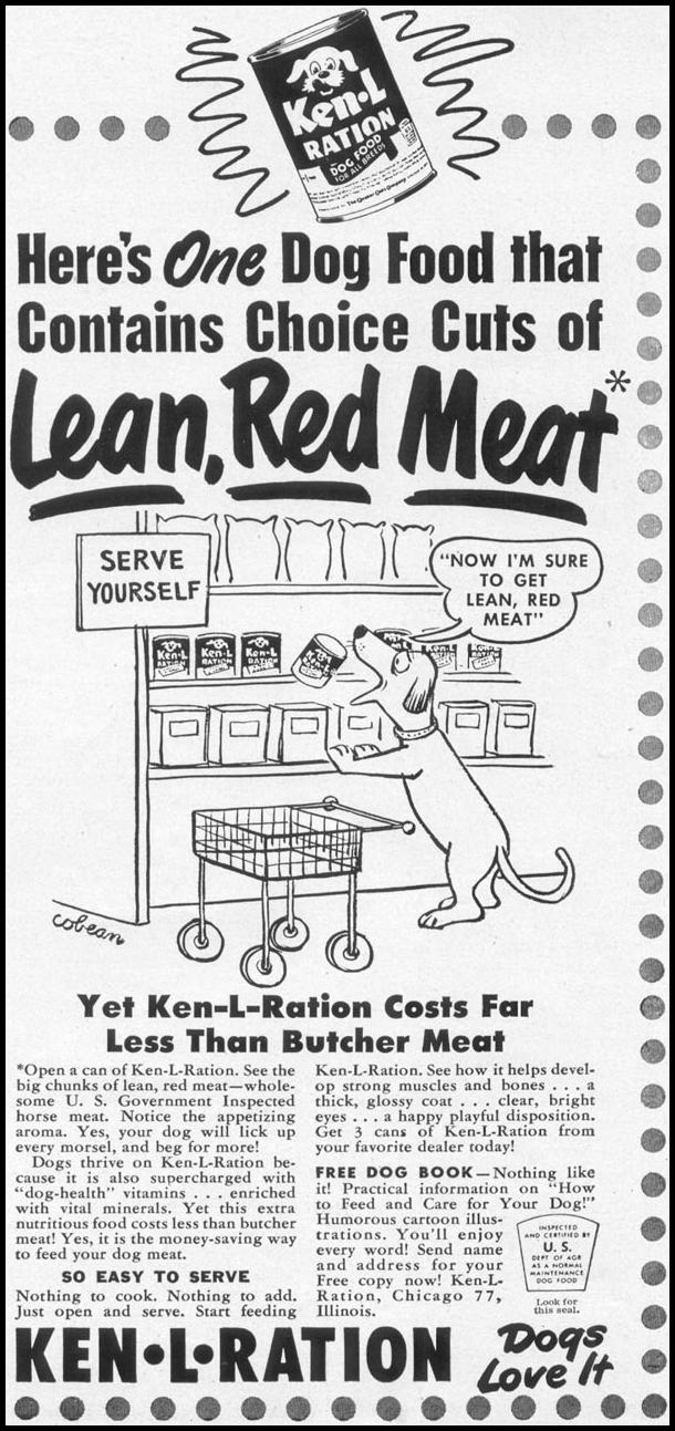 KEN-L-RATION DOG FOOD WOMAN'S DAY 10/01/1949 p. 111