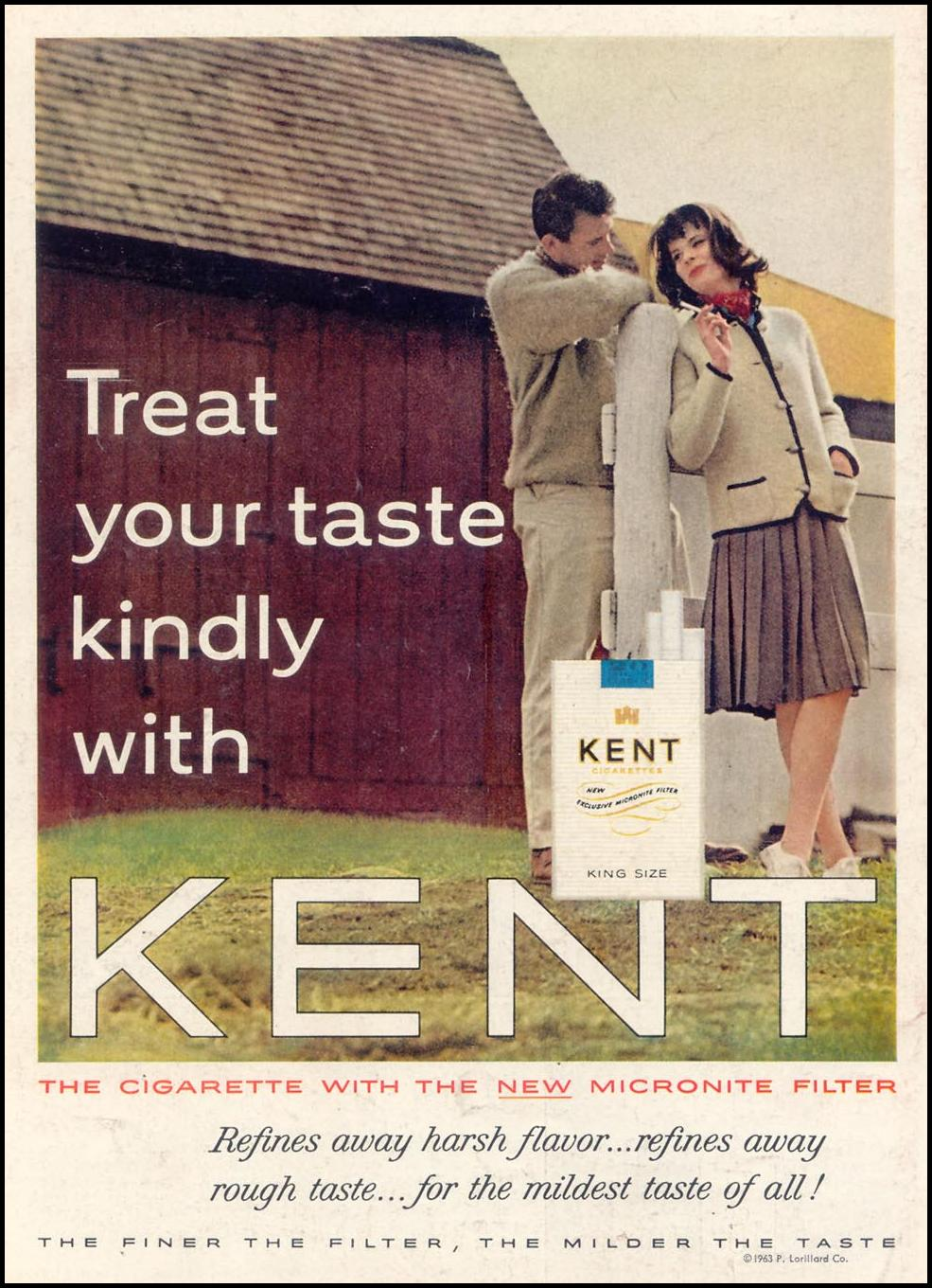 KENT CIGARETTES TIME 02/01/1963 BACK COVER