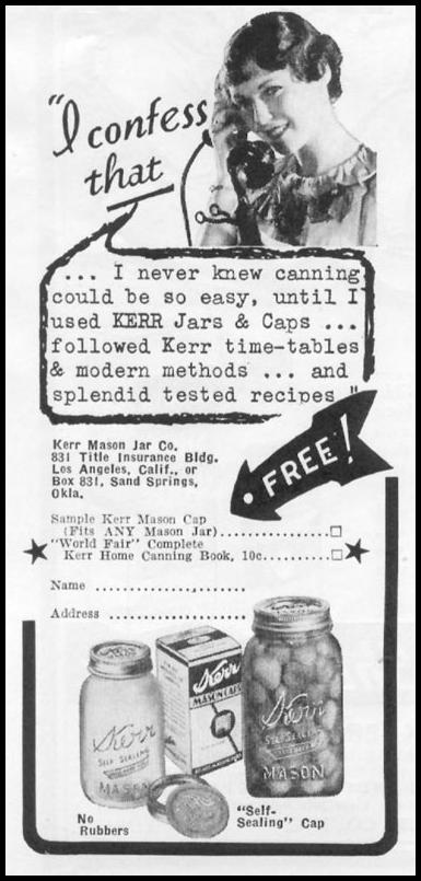 KERR MASON JARS WOMAN'S DAY 06/01/1939 p. 46