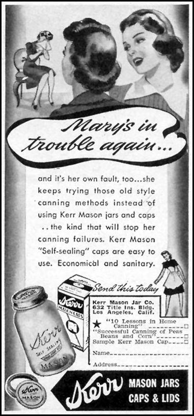 KERR MASON JARS WOMAN'S DAY 08/01/1940 p. 55