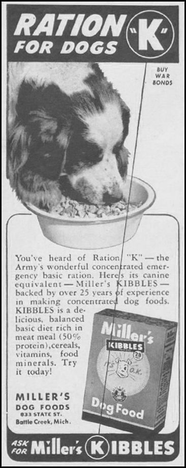 MILLER'S KIBBLES DOG FOOD LIFE 08/09/1943 p. 92