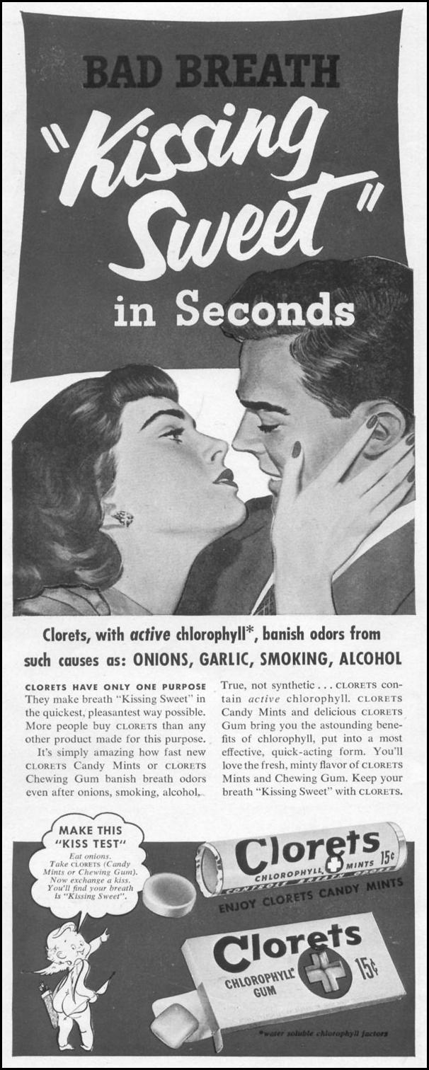 CLORETS CHLOROPHYLL BREATH MINTS & CHEWING GUM LIFE 10/13/1952 p. 66