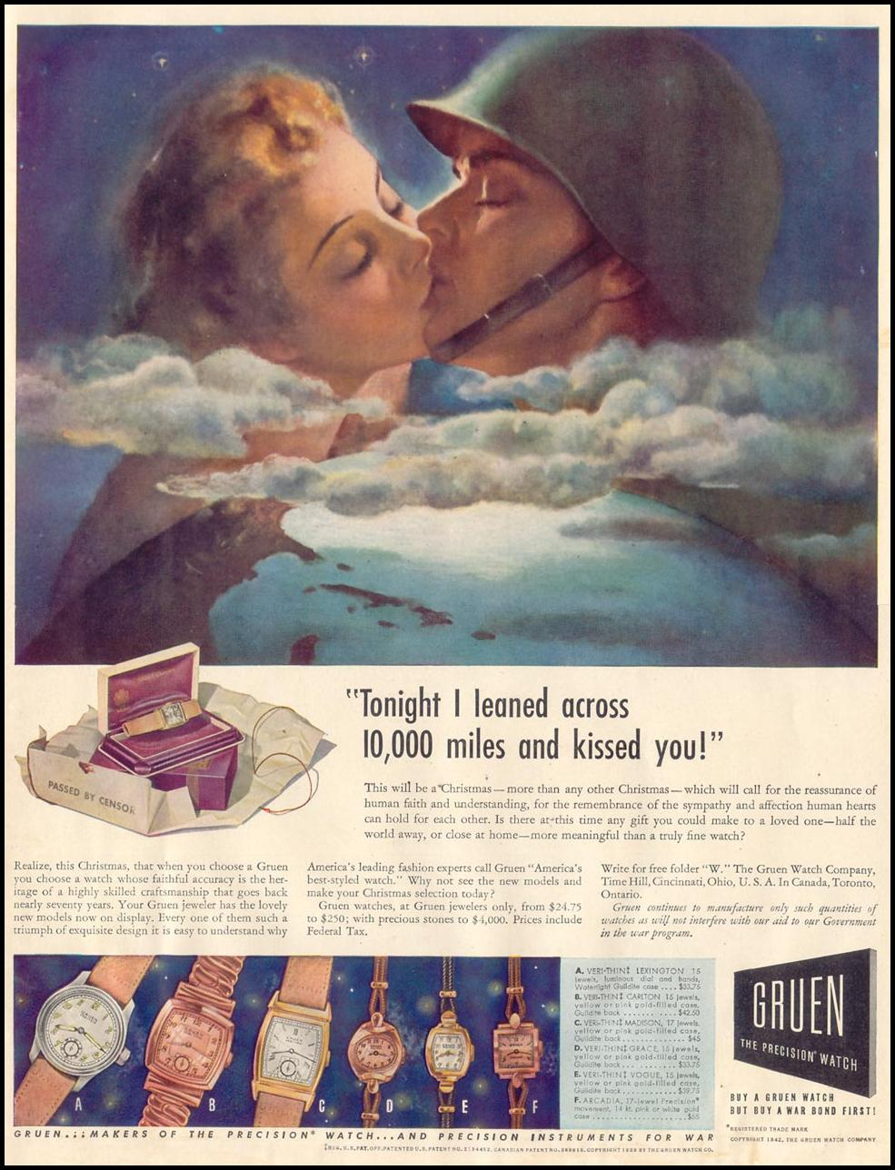 GRUEN PRECISION WATCHES LIFE 11/30/1942