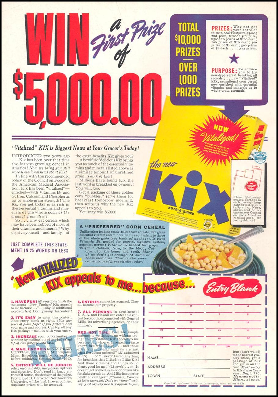 KIX CEREAL WOMAN'S DAY 07/01/1946 BACK COVER