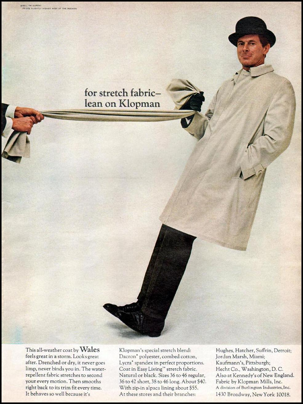 KLOPMAN STRETCH BLEND FABRIC NEWSWEEK 10/12/1964