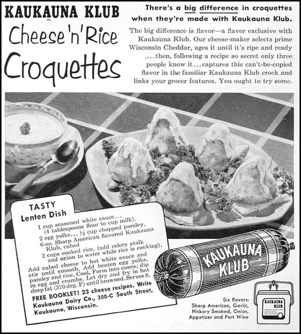 KAUKAUNA KLUB CHEESE FOODS WOMAN'S DAY 02/01/1954 p. 167