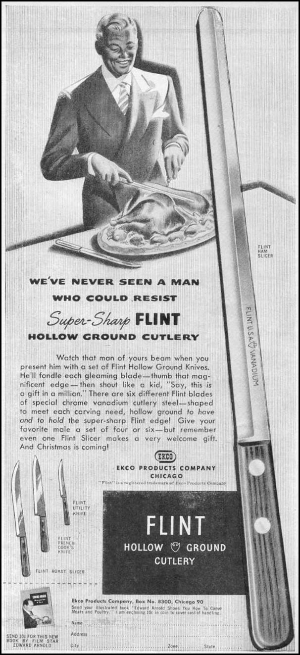 FLINT HOLLOW GROUND CUTLERY WOMAN'S DAY 11/01/1945 p. 85