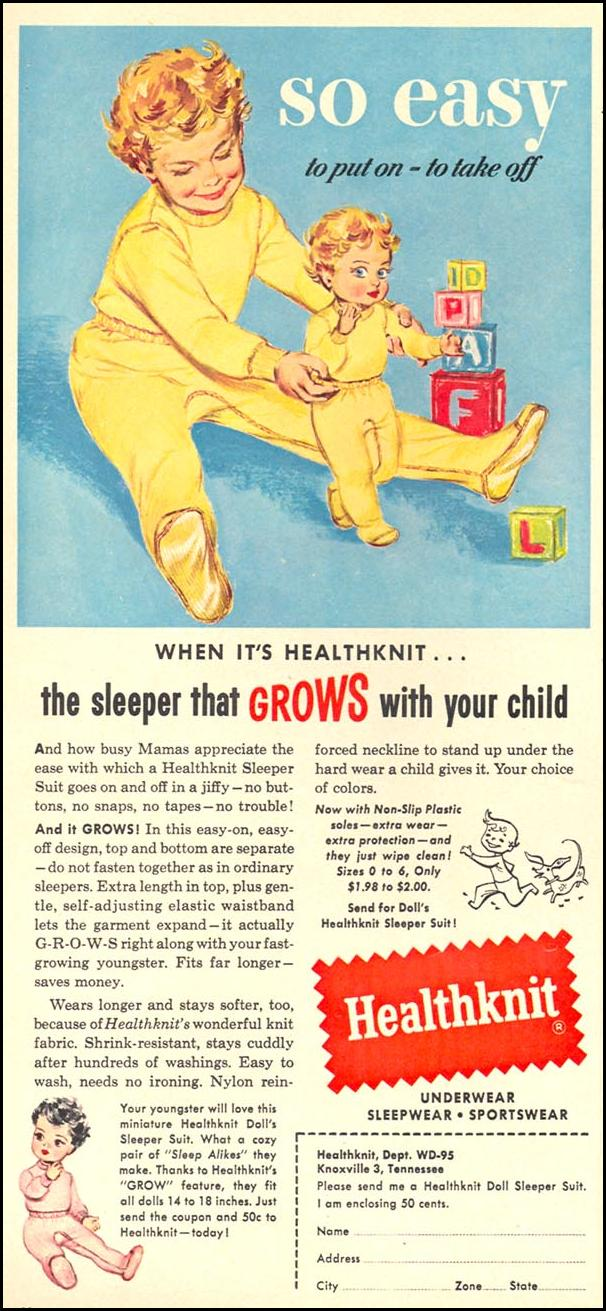 HEALTHKNIT CHILDREN'S SLEEPERS WOMAN'S DAY 09/01/1955 p. 20