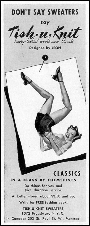 TISH-U-KNIT SWEATERS LIFE 02/21/1944 p. 24