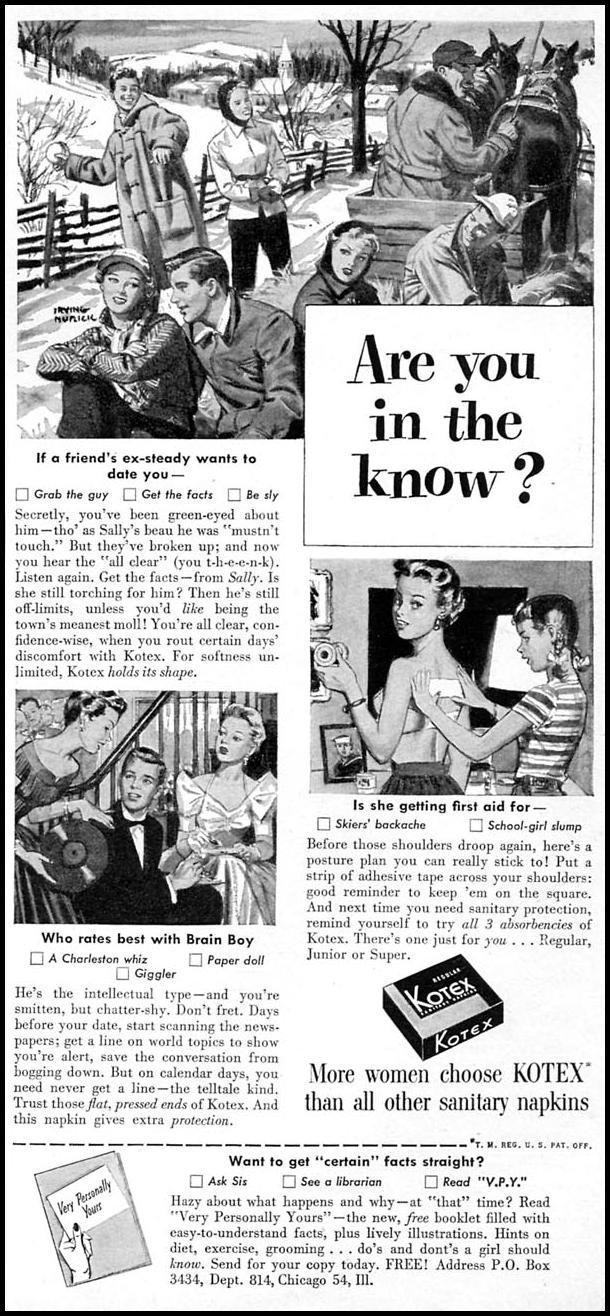KOTEX WOMAN'S DAY 02/01/1954 p. 109