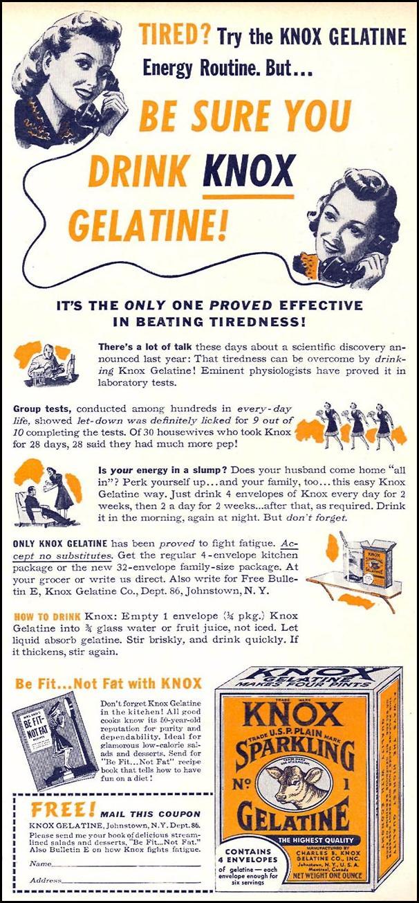 KNOX SPARKLING GELATINE WOMAN'S DAY 05/01/1940 p. 1