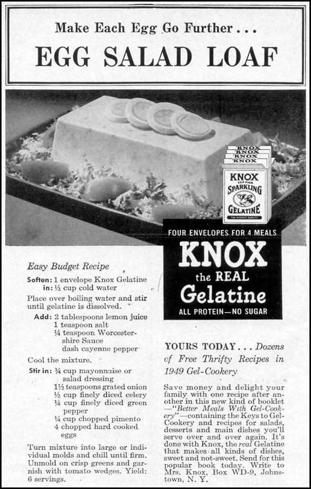 KNOX GELATINE WOMAN'S DAY 06/01/1949 p. 109