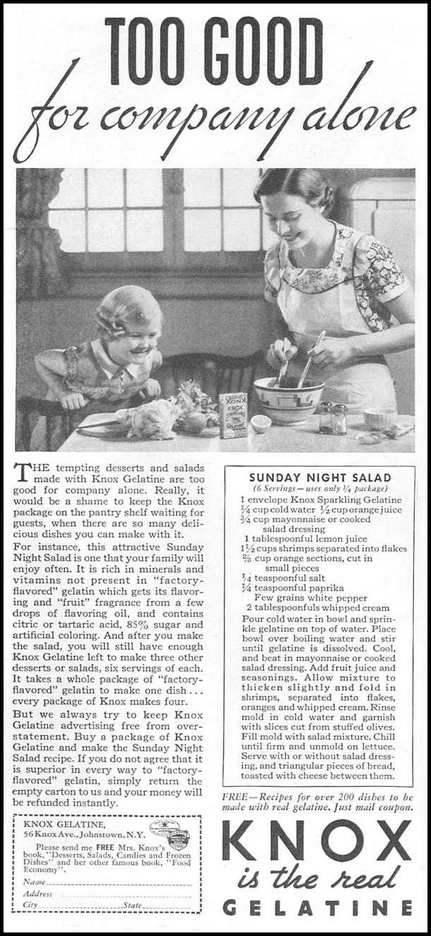 KNOX SPARKLING GELATINE GOOD HOUSEKEEPING 06/01/1935 p. 164