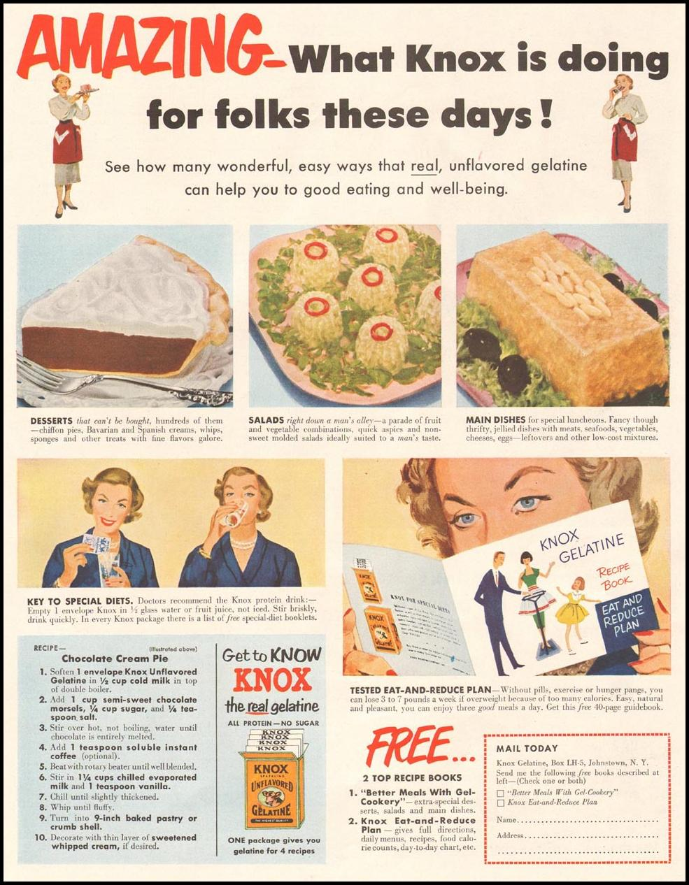 KNOX GELATINE LADIES' HOME JOURNAL 03/01/1954 p. 81