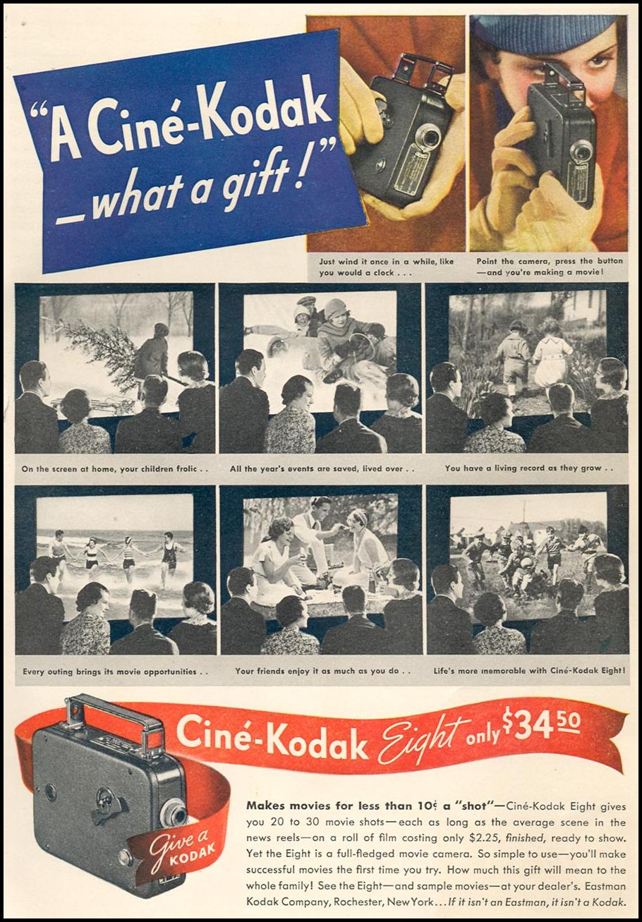 CINE-KODAK EIGHT HOME MOVIE CAMERA GOOD HOUSEKEEPING 12/01/1934