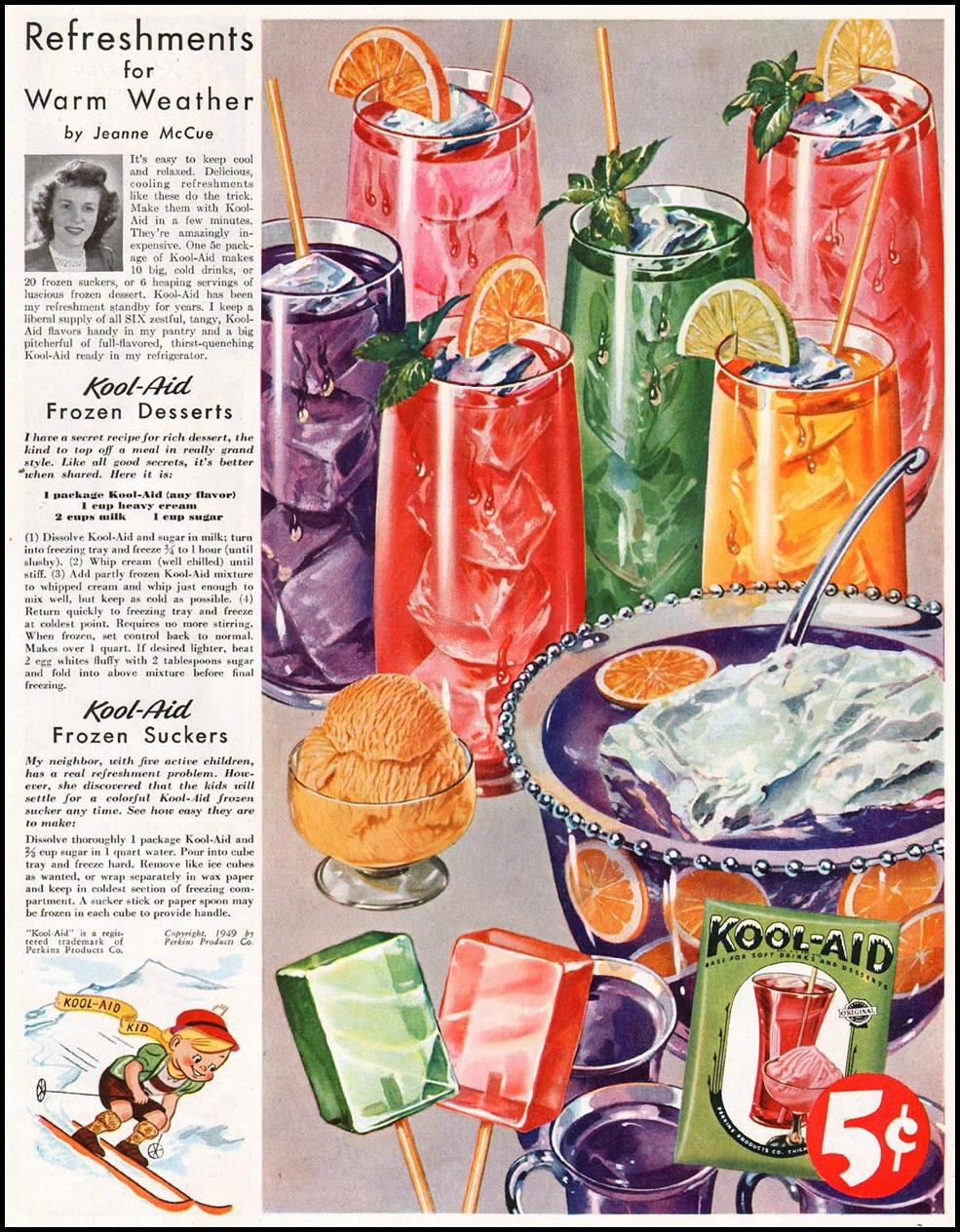 KOOL-AID SOFT DRINK MIX LADIES' HOME JOURNAL 07/01/1949 p. 17