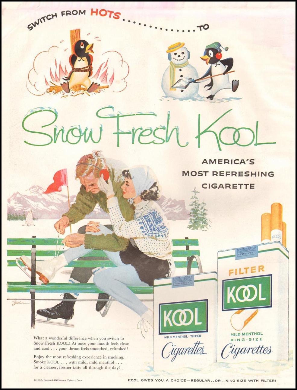 KOOL CIGARETTES LIFE 11/24/1957 INSIDE FRONT