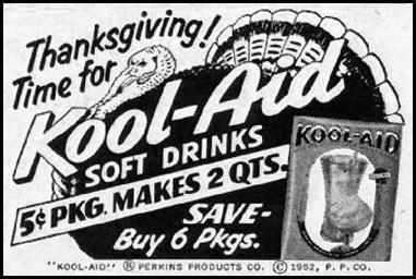 KOOL-AID SOFT DRINK MIX WOMAN'S HOME COMPANION 12/01/1952 p. 126