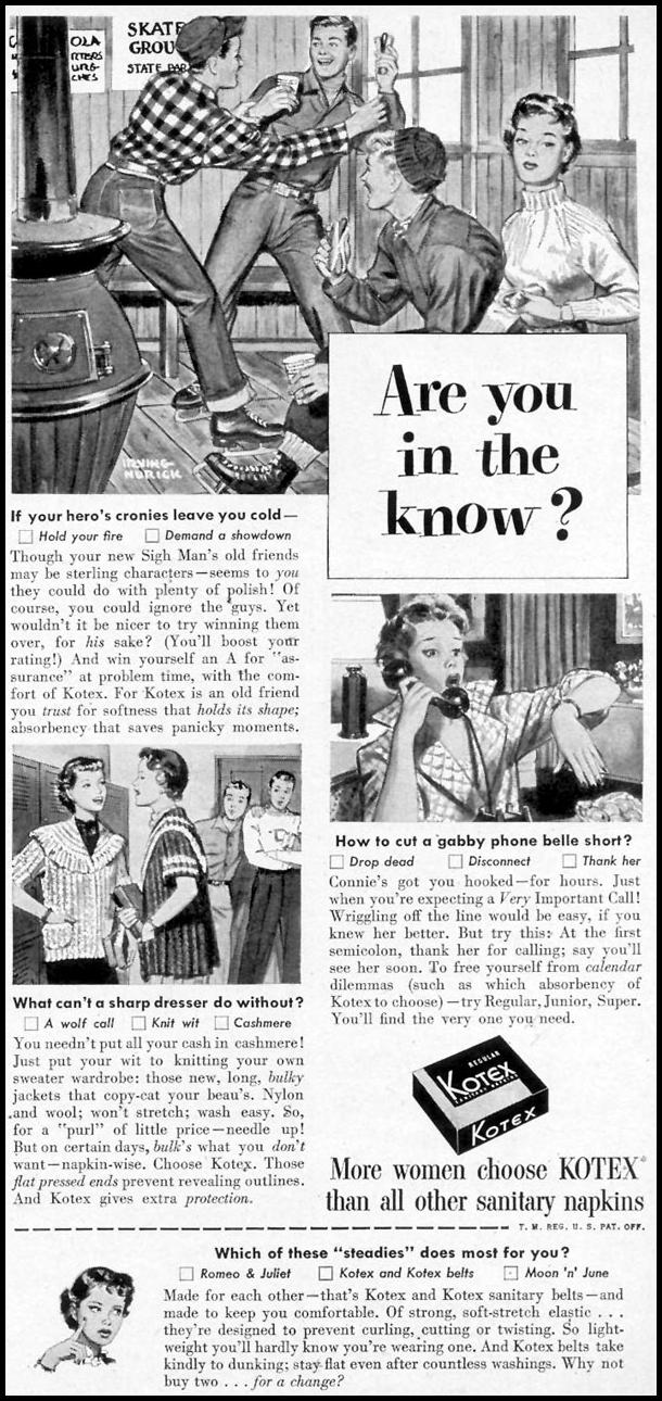 KOTEX WOMAN'S DAY 03/01/1954 p. 133