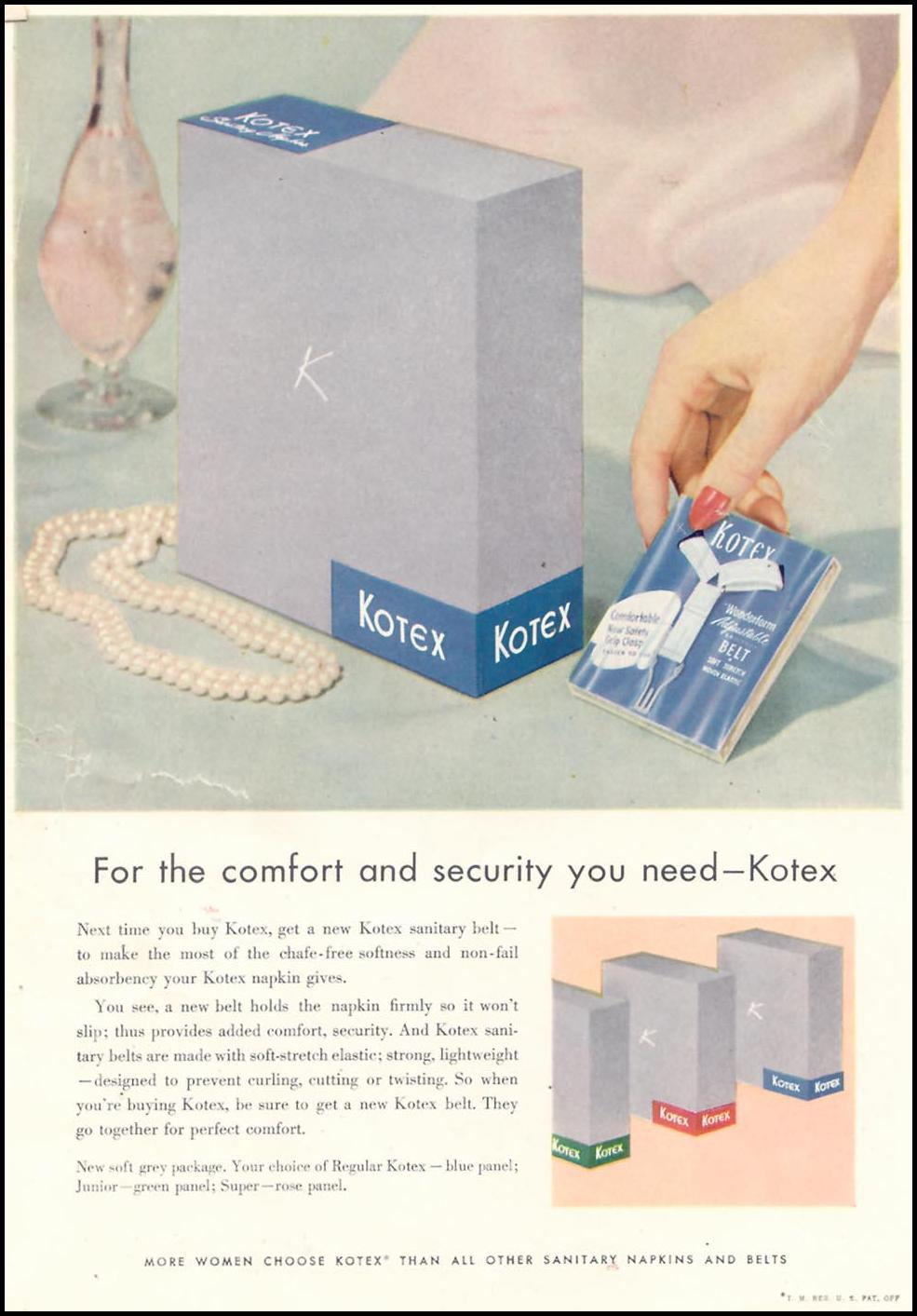 KOTEX WOMAN'S DAY 07/01/1955 INSIDE BACK