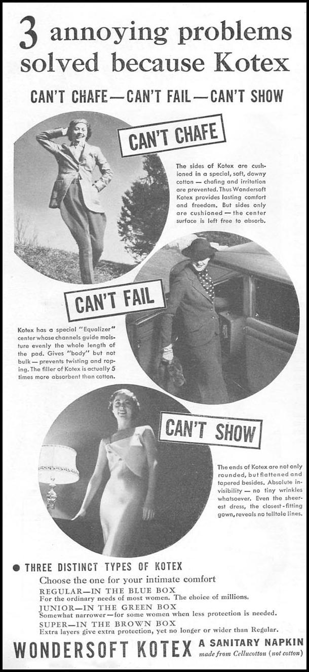 KOTEX GOOD HOUSEKEEPING 04/01/1936 p. 186