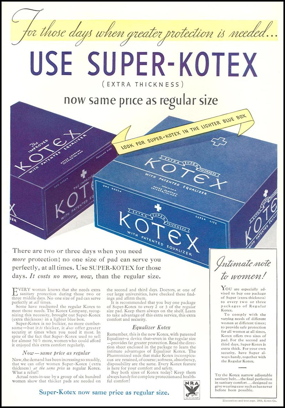KOTEX GOOD HOUSEKEEPING 12/01/1933 INSIDE BACK