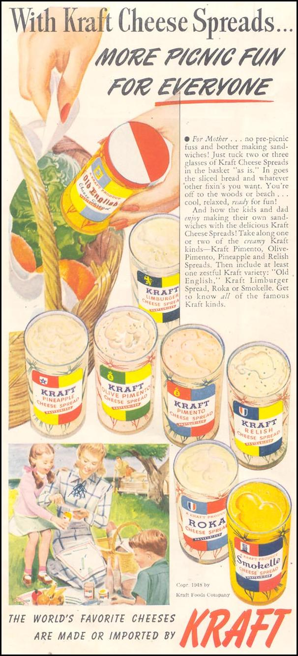 KRAFT CHEESE SPREADS GOOD HOUSEKEEPING 07/01/1948 p. 22