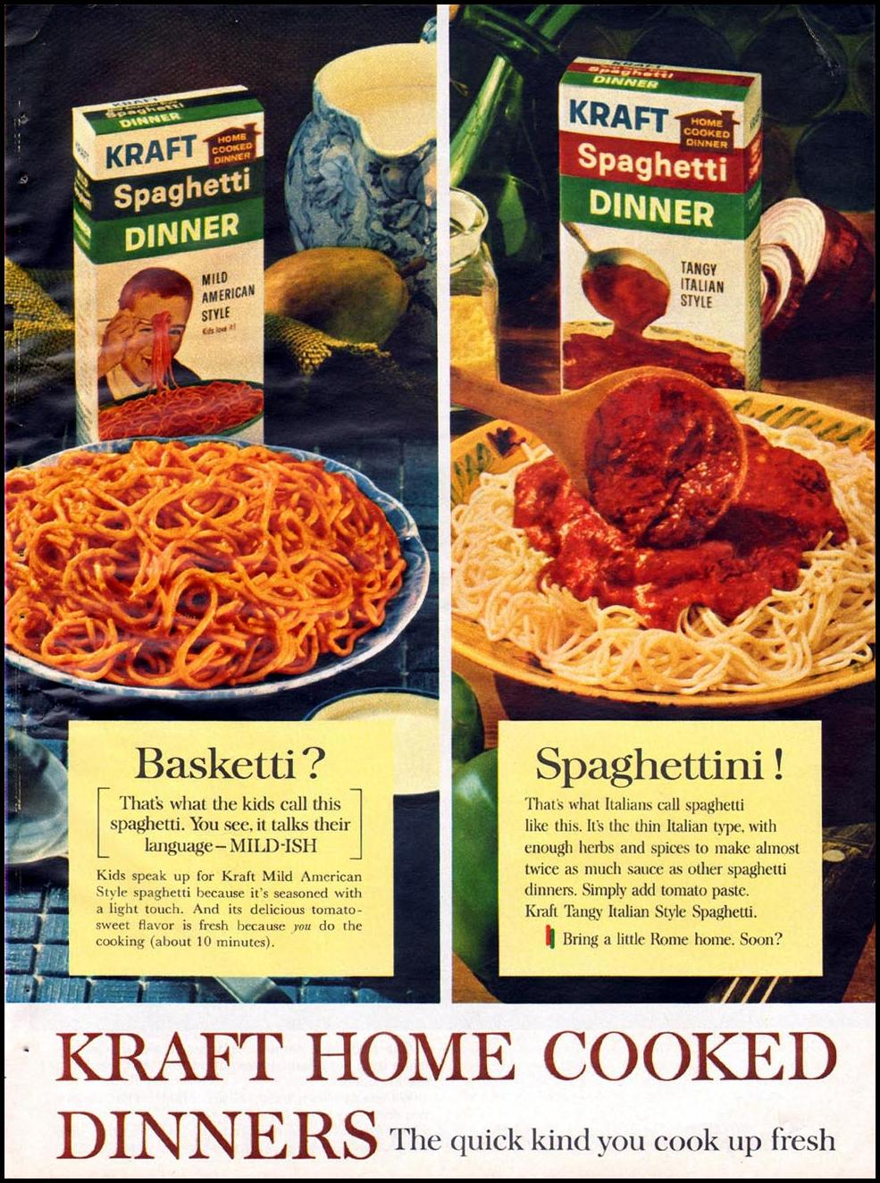 KRAFT SPAGHETTI DINNER GOOD HOUSEKEEPING 10/01/1965 p. 51