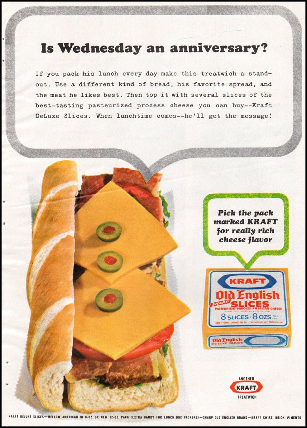 KRAFT OLD ENGLISH AMERICAN CHEESE SLICES GOOD HOUSEKEEPING 10/01/1965 p. 139
