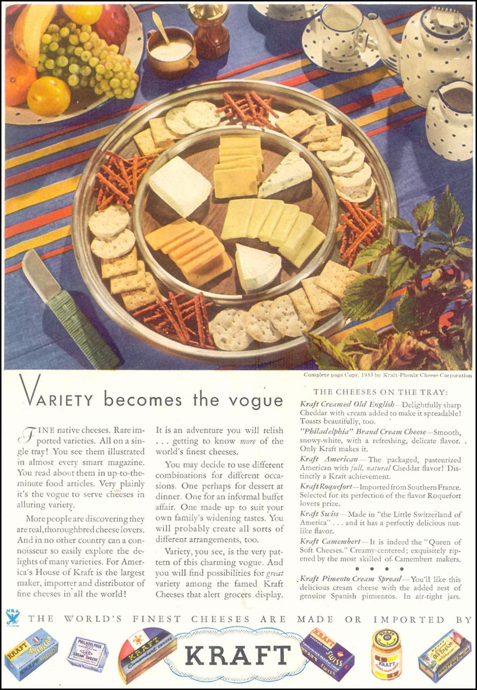 KRAFT CHEESES GOOD HOUSEKEEPING 11/01/1933