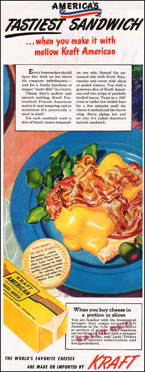 KRAFT AMERICAN CHEESE LADIES' HOME JOURNAL 07/01/1949 p. 12