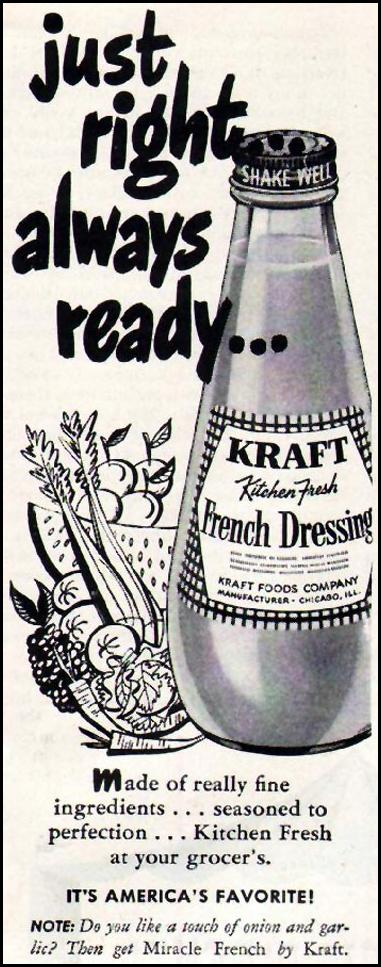 KRAFT FRENCH DRESSING LADIES' HOME JOURNAL 07/01/1949 p. 145