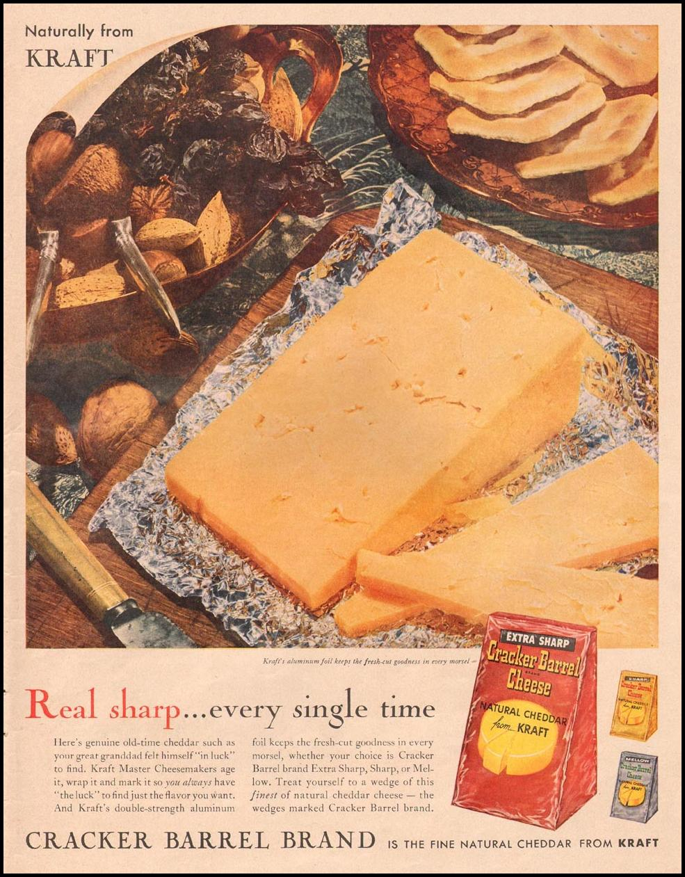 KRAFT CRACKER BARREL BRAND CHEESE LIFE 09/15/1958