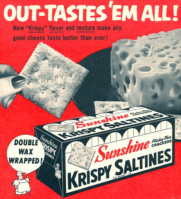 SUNSHINE KRISPY SALTINES WOMAN'S DAY 10/01/1956 p. 135