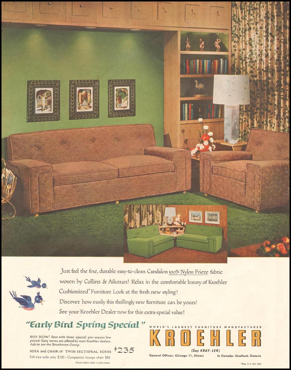 KROEHLER FURNITURE LADIES' HOME JOURNAL 03/01/1954