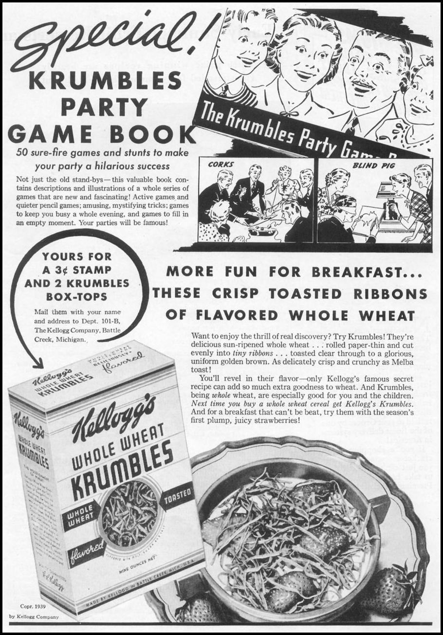 KELLOGG'S WHOLE WHEAT KRUMBLES CEREAL WOMAN'S DAY 05/01/1939 p. 33