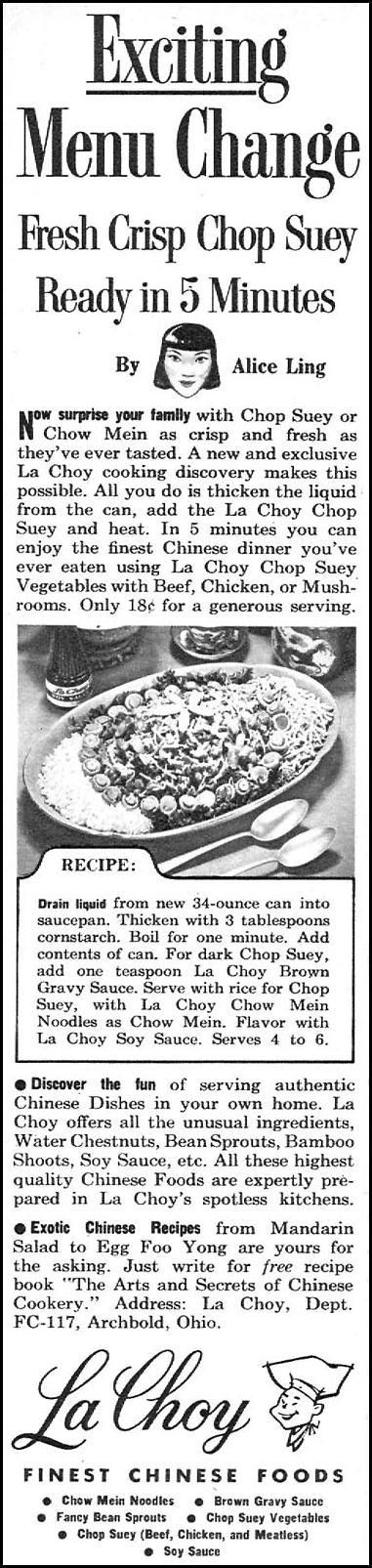 LA CHOY AMERICAN COOKED CHINESE FOODS FAMILY CIRCLE 11/01/1957 p. 52