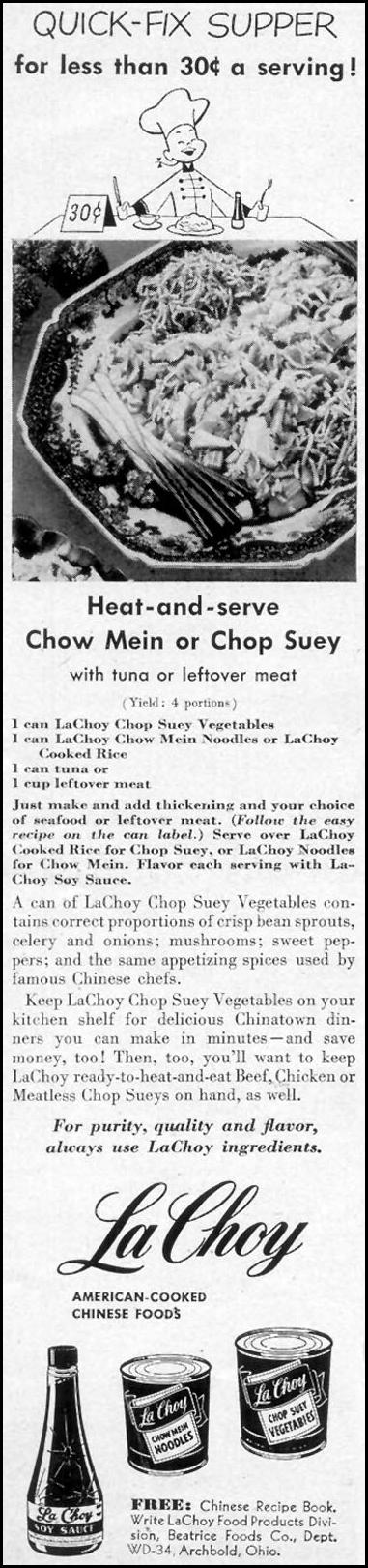LA CHOY AMERICAN-COOKED CHINESE FOODS WOMAN'S DAY 03/01/1952 p. 158